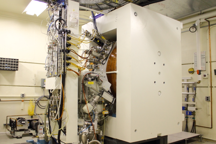 A medium-range view of the cyclotron shows how the electromagnets are mounted within their housing.