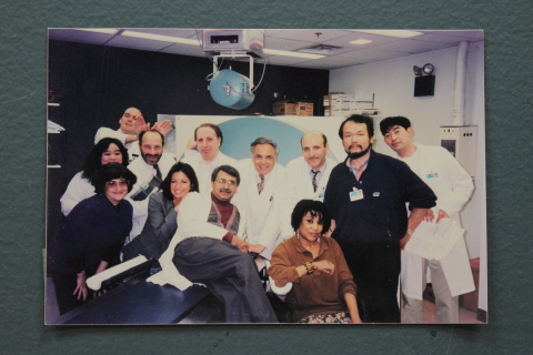 Back row (Left to Right): Angelo Antonini, Miyuki Yoshida-Hay, William Robeson, Barry Babchyk, Italo Zanzi, Abdel Belahklef, Ken Kazumata; Front row (Left to Right): Phoebe Spetsieris, Debra Siegel, Vijay Dhawan, Seda, Tatsuya Ishikawa. Photo taken c. 1995.