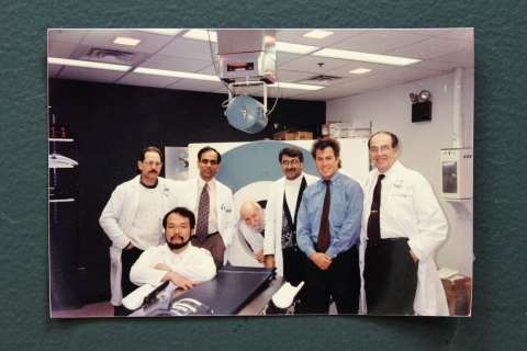 Left to Right: Ralph Mattachieri, Tatsuya Ishikawa, Thomas Chaly, Robert Dahl, Vijay Dhawan, David Eidelberg, Donald Margouleff. Photo taken c. 1995