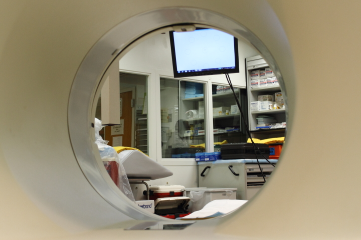 View through PET scanner, showing the test monitor seen by the patient